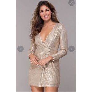 Sequin Short V-Neck Sleeved Gold  Wrap Dress
